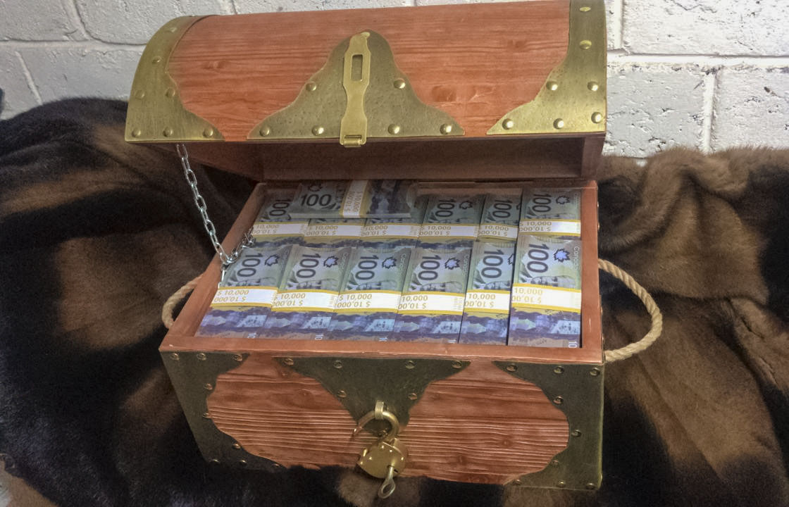 100 Canadian dollars Prop Money Pirate Chest