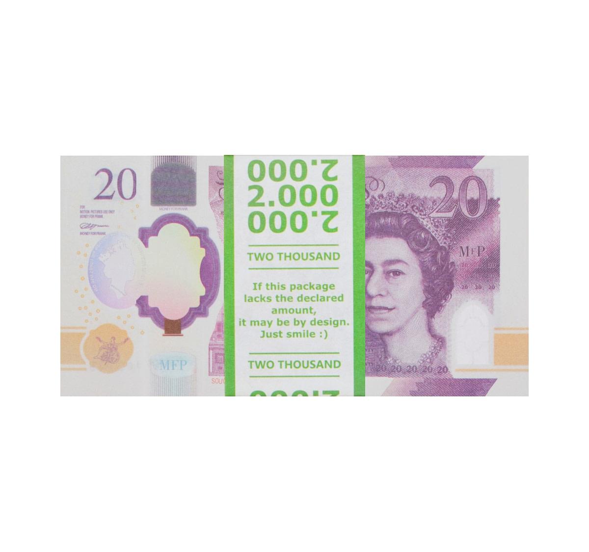 acheter NOUVELLE 20 livres sterling pile de 100 faux billets face avant