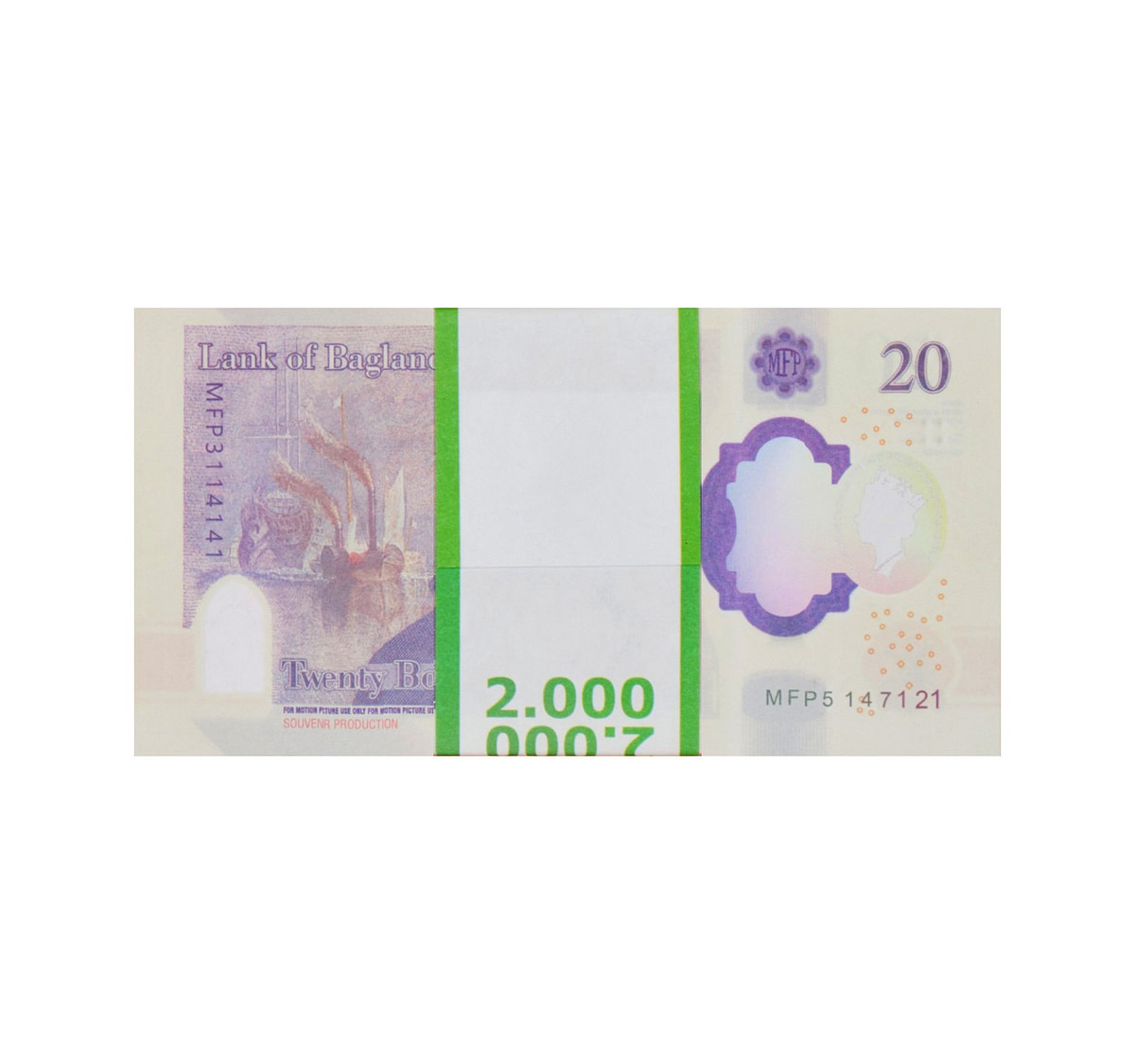 acheter NOUVELLE 20 livres sterling pile de 100 faux billets arrière