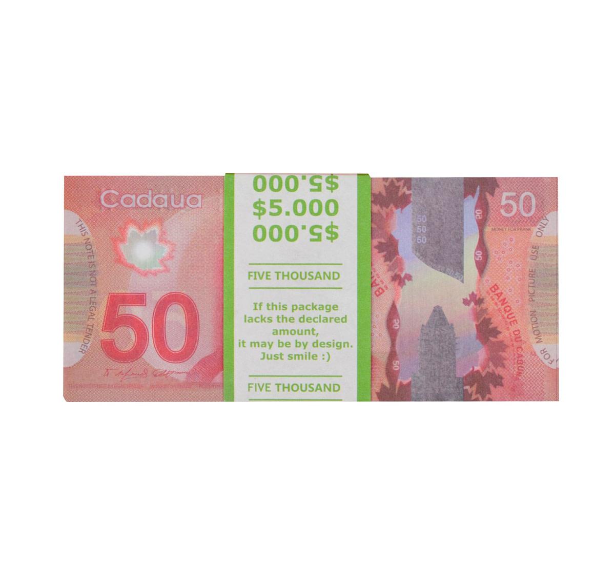 acheter nouvelle 50 dollars canadiens pile de 100 faux billets face avant