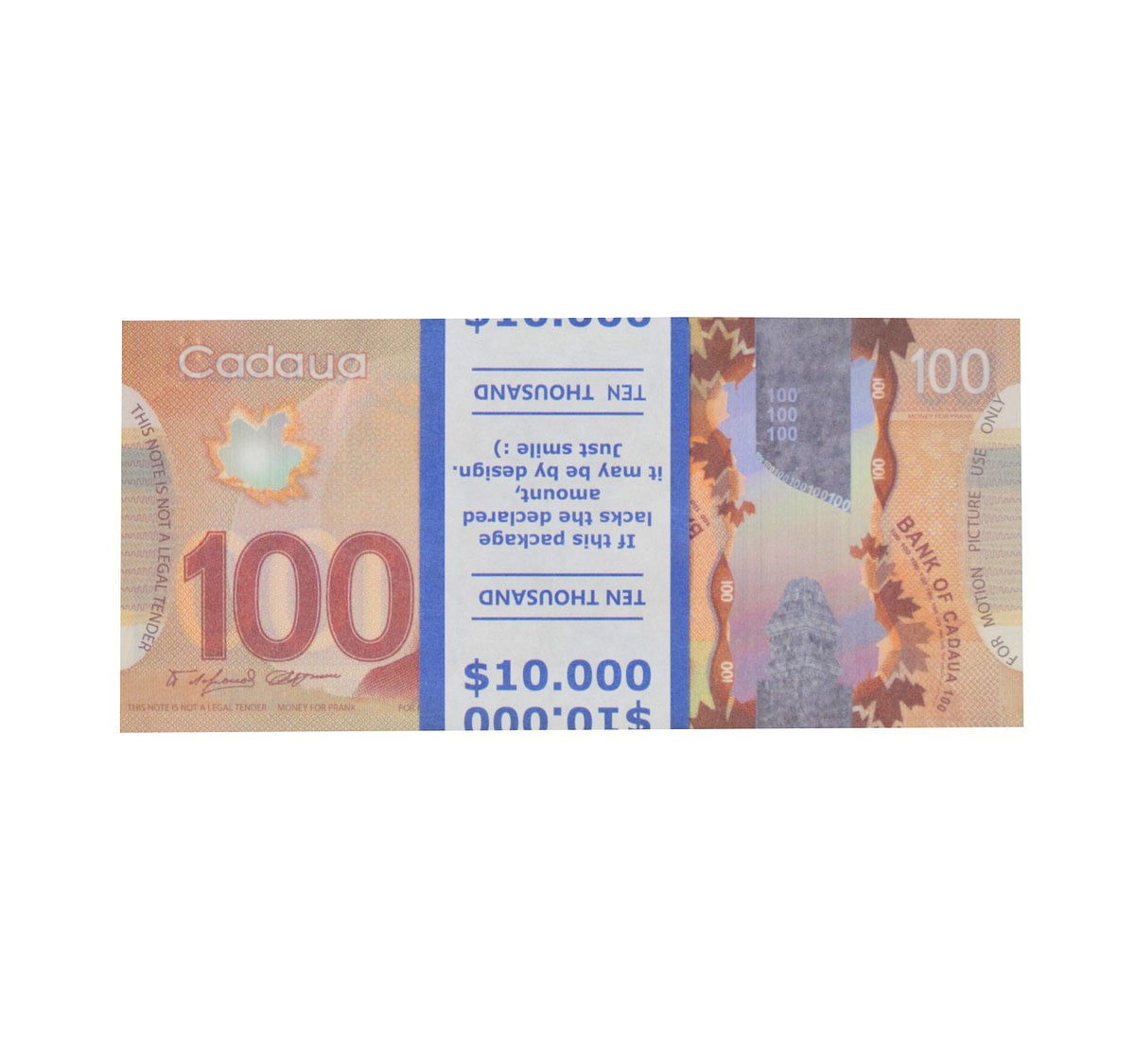 acheter nouvelle 100 dollars canadiens pile de 100 faux billets face avant