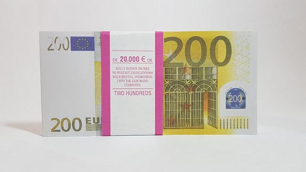 Bloc-notes de faux billets de 200 euros