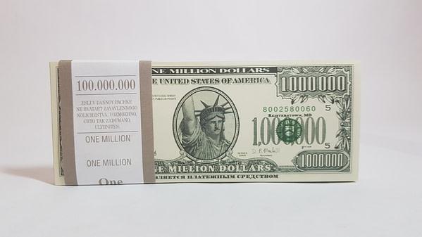 Bloc-notes de faux billets de 1mln. dollars américains