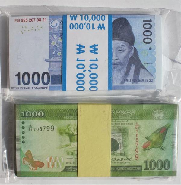 Kit de faux billets 1000 wons, 1000 roupies sri-lankaises