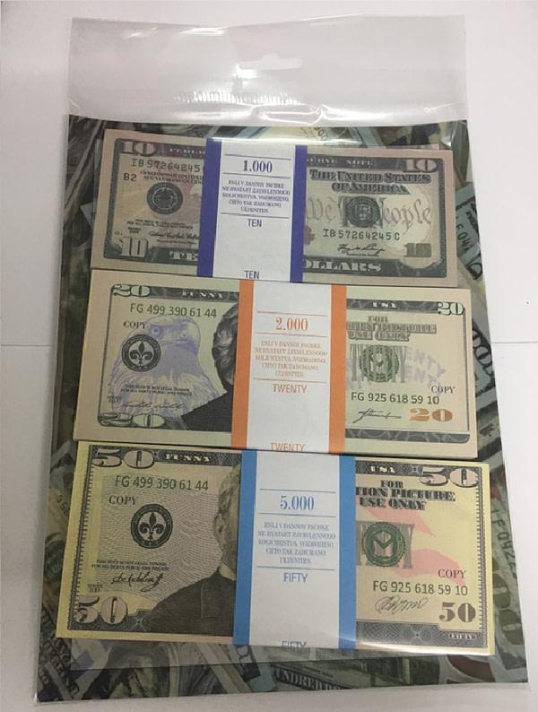 Kit de faux billets dollars américains 10, 20, 50