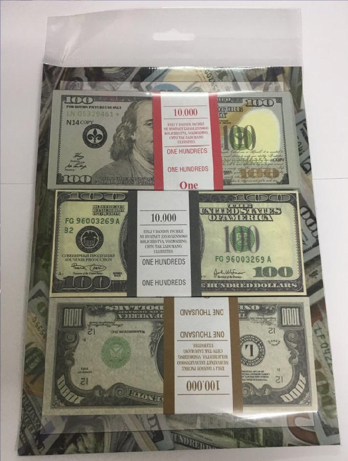 Kit de faux billets dollars américains 100 nouveaux, 100, 1000