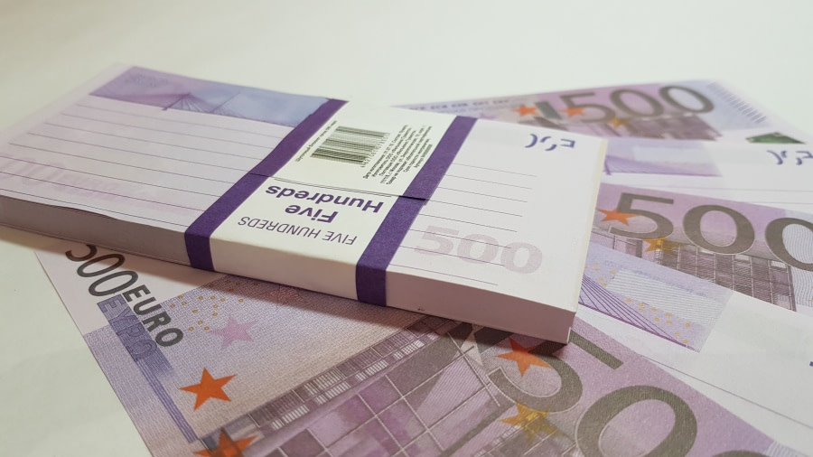 Bloc-notes de faux billets de 500 euros