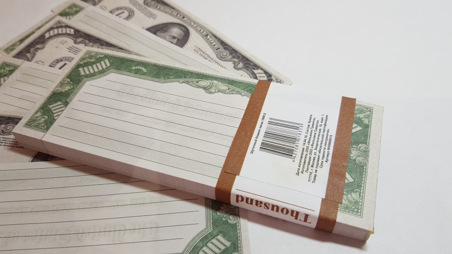 Bloc-notes de faux billets de 1000 dollars américains