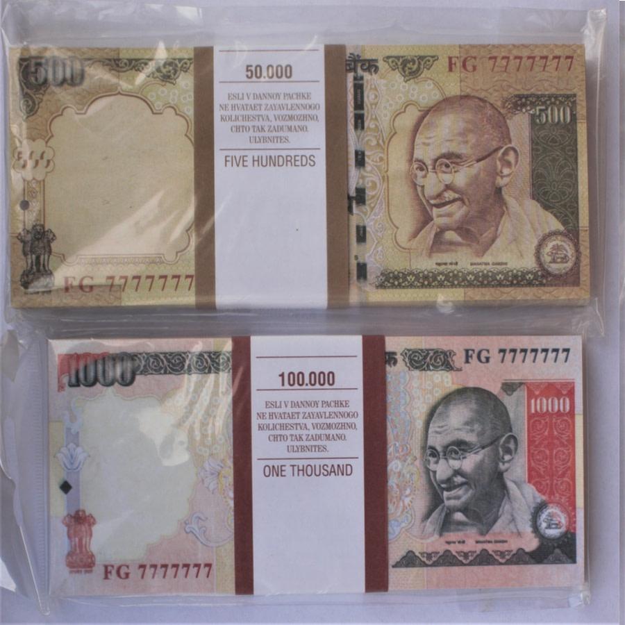 Kit de faux billets Roupies indiennes 500, 1000